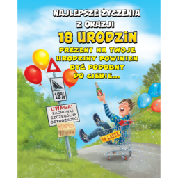 Karnet Duży Fan Najlepsze życzenia Z Okazji 18 Urodzin