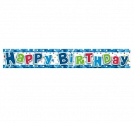 "Baner niebieski ""Happy Birthday"""