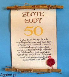 Dyplom Z Bambusem 50 Rocznica ślubu Złote Gody