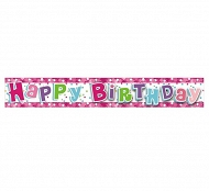 "Baner różowy ""Happy Birthday"""