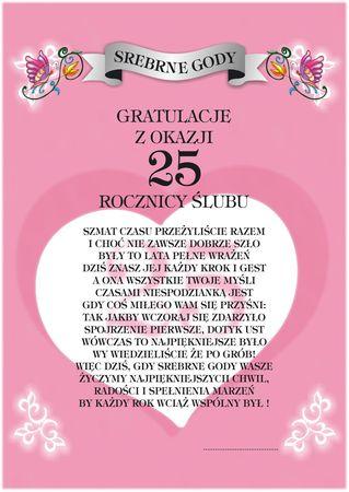 Dyplom 25 Srebrne Gody Gratulacje Z Okazji 25 Rocznicy ślubu