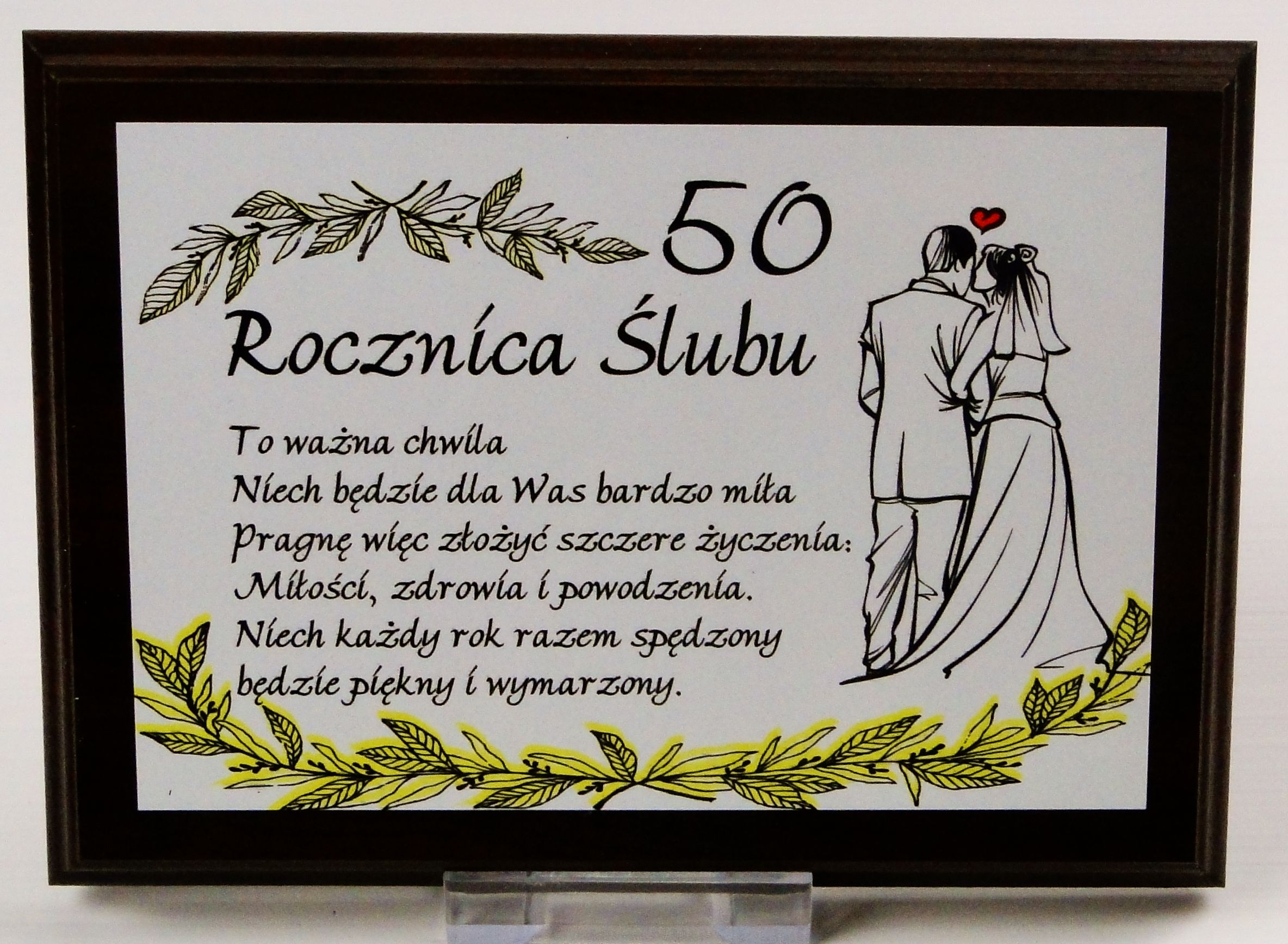 Dyplom Na Drewnie 50 Rocznica ślubu Para Z Prawej