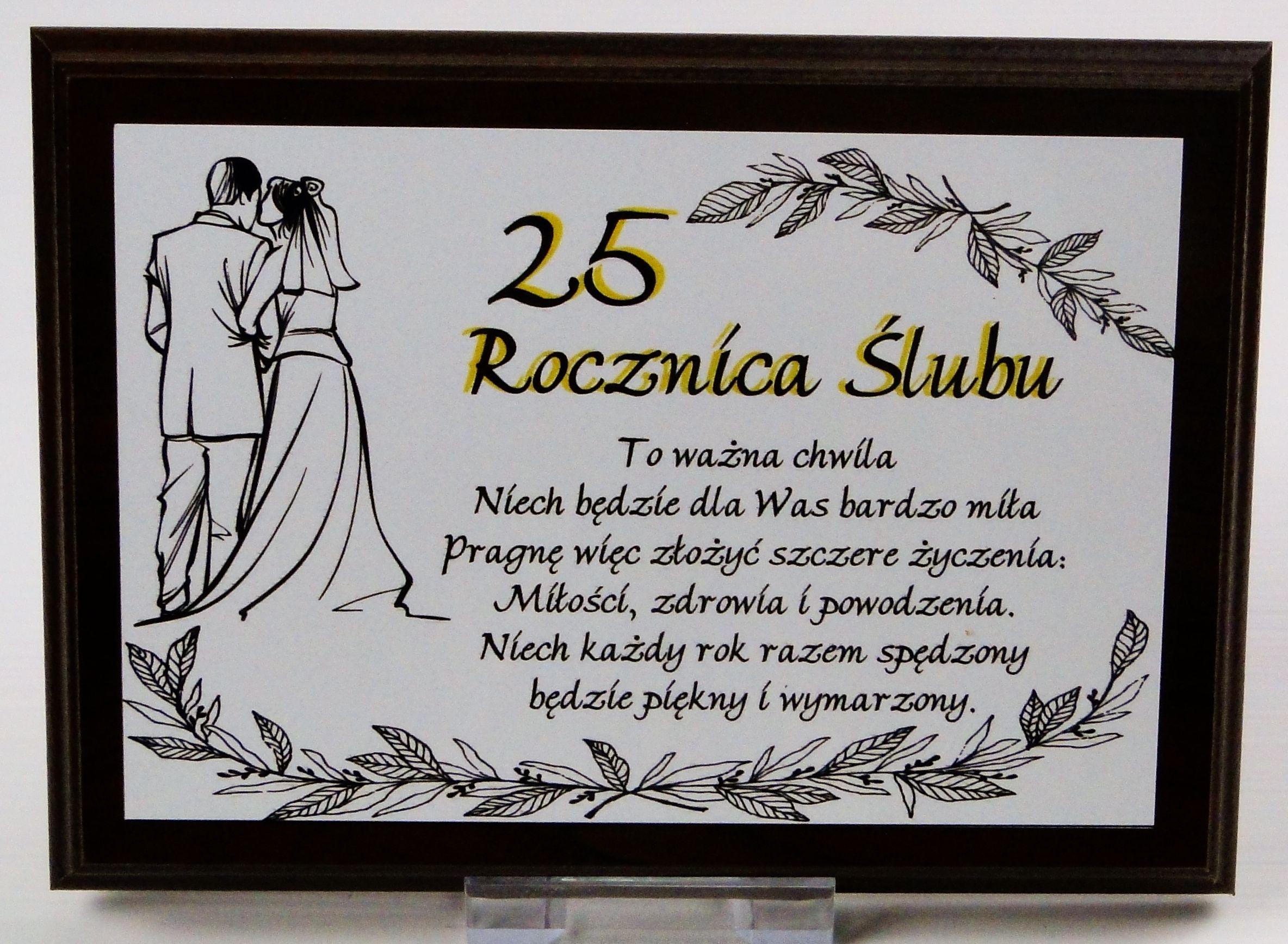 Dyplom Na Drewnie 25 Rocznica ślubu