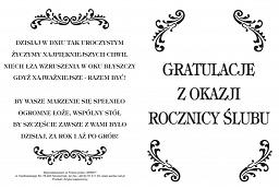 Wizytówka Okolicznościowa Gratulacje Z Okazji Rocznicy ślubu