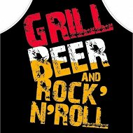 Kpl. Fartuch + rękawica - Grill beer and rock'n'roll