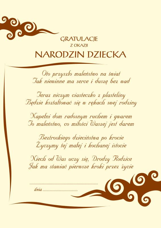Dyplom Gratulacje Z Okazji Narodzin Dziecka